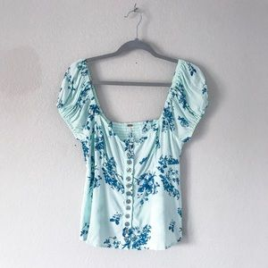 {Free People} Floral Button Up Blouse